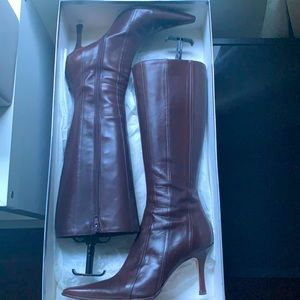 🔥HOT SALE🔥 Browns Couture Leather Boots Pointed Below Knee